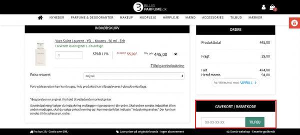 Sådan indløser du din rabatkode hos BilligParfume.dk