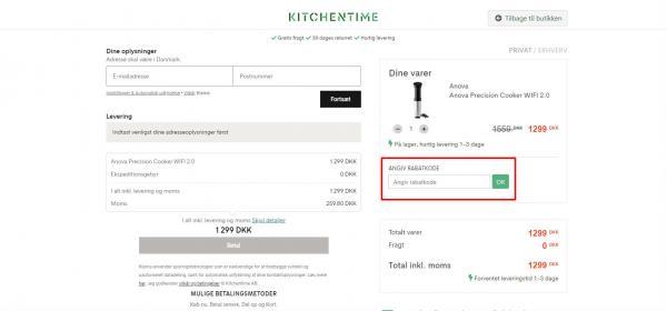Sådan indløser du din rabatkode hos KitchenTime.