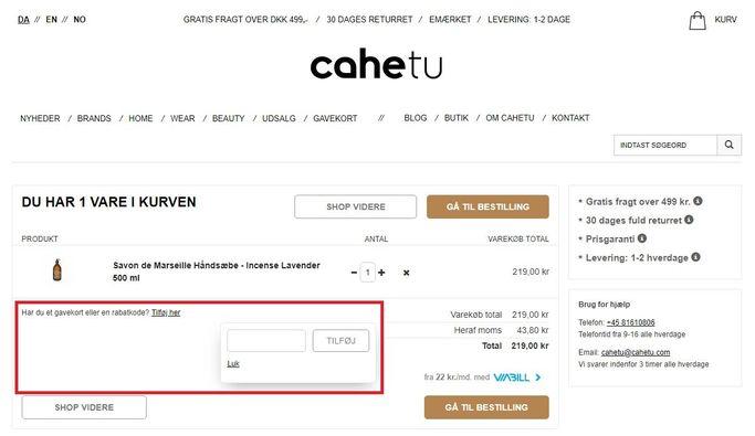 Spar penge med en rabatkode hos Cahetu