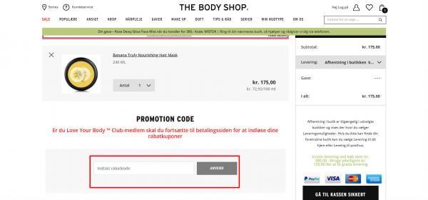 Sådan indløser du din rabatkode hos The Body Shop.