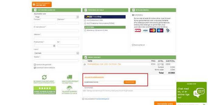 Brug rabatkoder til onlinebutikken