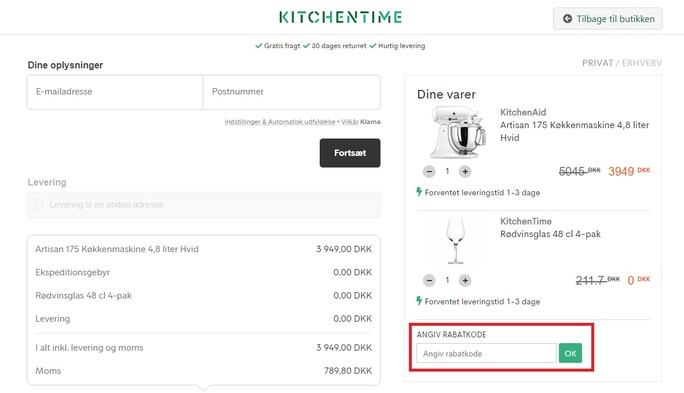 Anvend en rabatkode hos KitchenTime