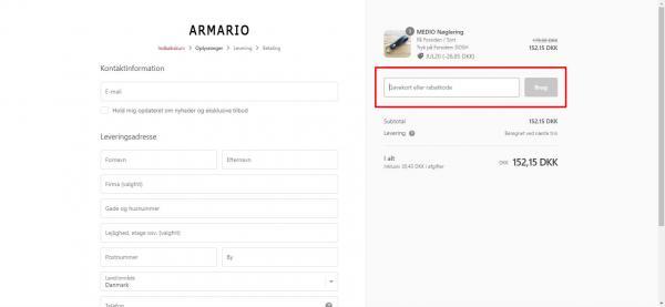 Sådan indløser du din rabatkjode hos Armario.