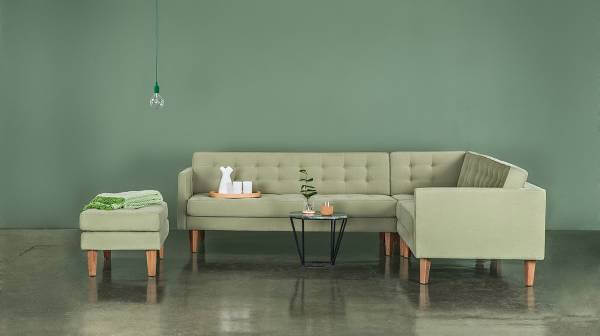 Et grønt hjørnesofa fra Nordic Sofas