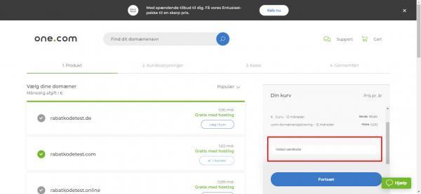 Sådan indløser du din rabatkode hos One.com