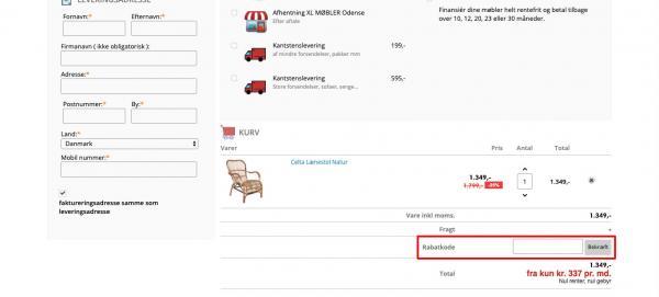 Sådan indløser du din rabatkode hos XL-Møbler.