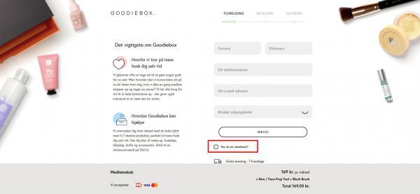 Sådan indløser du din rabatkode hos Goodiebox.
