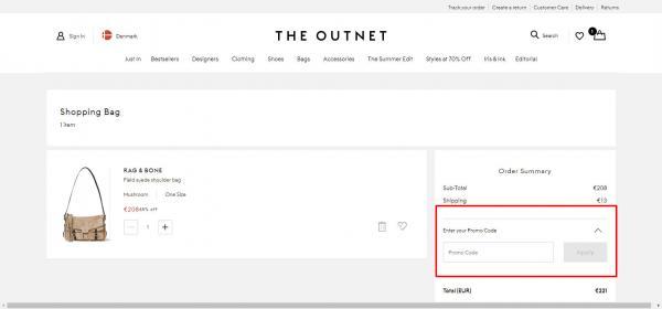 Sådan indløser du din rabatkode hos The Outnet.