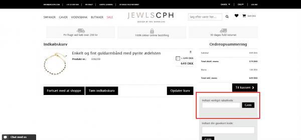 Sådan indløser du din rabatkode hos JEWLSCPH.