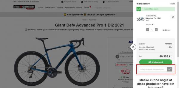 Sådan indløser du din rabatkode hos cykelexperten.