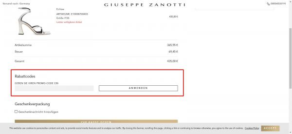 Sådan indløser du din rabatkode hos Giueseppe Zanotti.