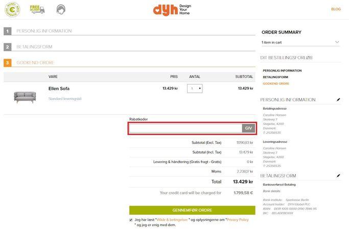 Spar penge på bestillingen med en rabatkode