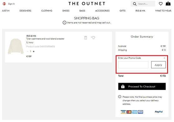 Sådan indløser du din rabatkode hos The Outnet