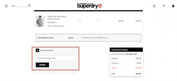 Sådan indløser du din rabatkode hos Superdry.
