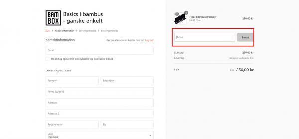 Sådan indløser du din rabatkode hos Bambox.dk.