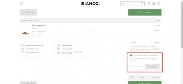 Sådan indløser du din rabatkode hos Bianco.