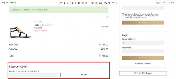 Sådan indløser du din rabatkode hos Giuseppe Zanotti.
