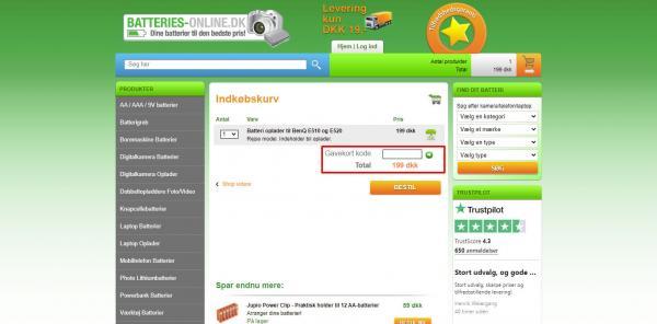Sådan indløser du din rabatkode hos Batteries-online.dk.
