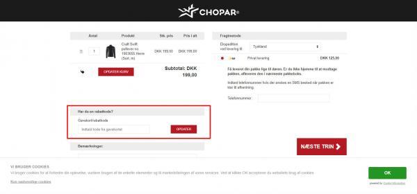 Sådan indløser du din rabatkode hos CHOPAR.