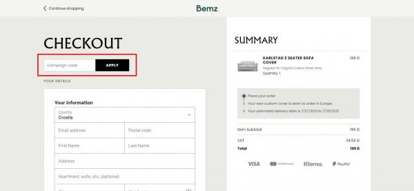 Sådan indløser du din rabatkode hos Bemz.