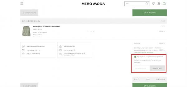 Sådan indløser du din rabatkode hos Vero Moda.