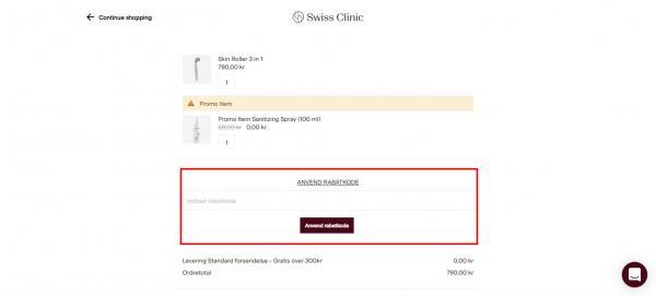 Sådan indløser du din rabatkode hos Swiss Clinic.