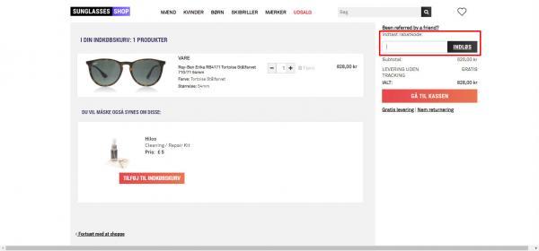Sådan indløser du din rabatkode hos Sunglasses Shop.
