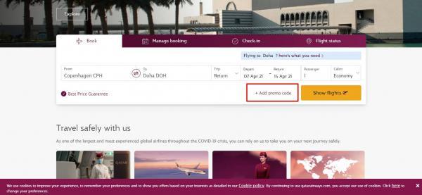 Sådan indløser du din rabatkode hos Qatar Airways.