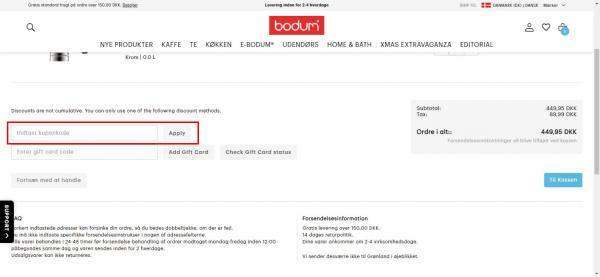 Sådan indløser du din rabatkode hos Bodum.