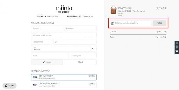 Sådan indløser du din rabatkode hos Miinto.dk