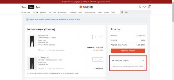 Sådan indløser du din rabatkode hos Zalando.