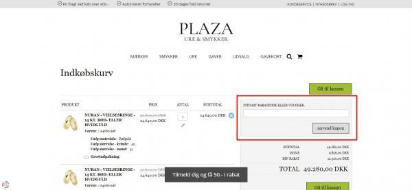 Sådan indløser du din rabatkode hos Plaza.