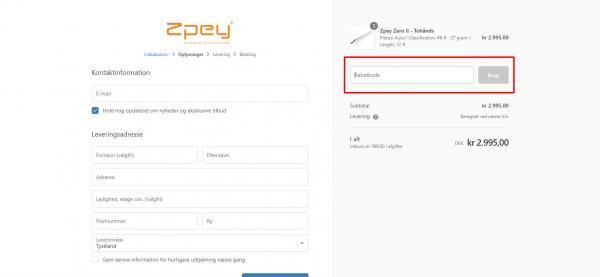 Sådan indløser du din rabatkode hos Zpey.